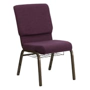 Flash Furniture HERCULES Series 18.5'' Wide Church Chair with 4.25'' Thick Seat, Communion Cup Book Rack - Gold Vein Frame, Plum