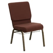 Flash Furniture HERCULES Series 18.5''W Church Chair with 4.25'' Thick Seat, Communion Cup Rack - Gold Vein Frame, Brown