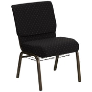 Flash Furniture HERCULES Series 21''W Church Chair with 4'' Thick Seat, Communion Cup Rack - Gold Vein Frame, Black Dot Pattern