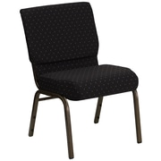 Flash Furniture HERCULES Series 21'' Extra Wide Stacking Church Chair with 4'' Thick Seat - Gold Vein Frame, Black Dot Patterned