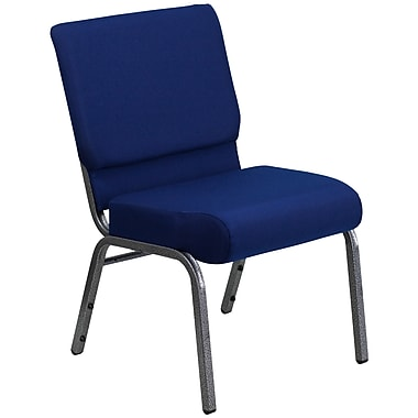 Flash Furniture HERCULES Series 21'' Extra Wide Stacking Church Chair with 4'' Thick Seat - Silver Vein Frame, Navy Blue