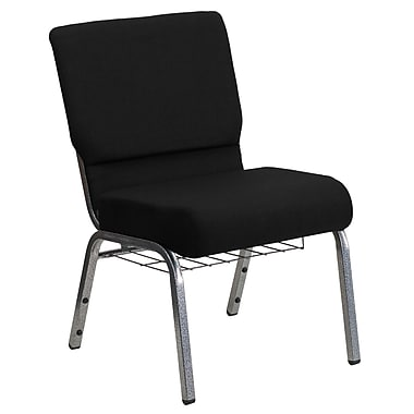Flash Furniture HERCULES Series 21''W Church Chair with 3.75'' Thick Seat, Rack - Silver Vein Frame, Black, 20/Pack