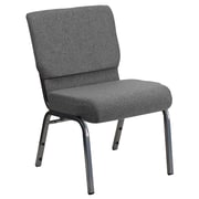 Flash Furniture HERCULES Series 21'' Extra Wide Stacking Church Chair with 3.75'' Thick Seat - Silver Vein Frame, Gray, 20/Pack