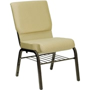 Flash Furniture HERCULES Series 18.5'' Wide Church Chair with 4.25'' Thick Seat Book Rack - Gold Vein Frame, Beige Patterned