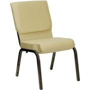 Flash Furniture HERCULES Series 18.5'' Wide Stacking Church Chair with 4.25'' Thick Seat - Gold Vein Frame, Beige Patterned