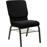 Flash Furniture HERCULES Series 18.5'' Wide Church Chair with 4.25'' Thick Seat Book Rack - Gold Vein Frame, Black Dot Patterned