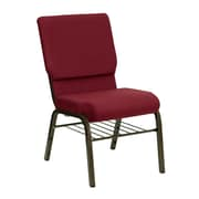 Flash Furniture HERCULES Series 18.5'' Wide Church Chair with 4.25'' Thick Seat Book Rack - Gold Vein Frame, Burgundy