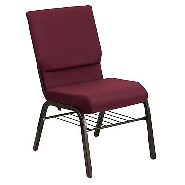 Flash Furniture HERCULES Series 18.5''W Church Chair with 4.25'' Thick Seat Book Rack - Gold Vein Frame, Burgundy, 20 Pack