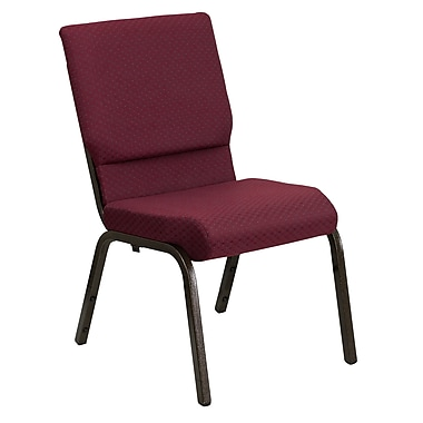 Flash Furniture HERCULES Series 18.5'' Wide Stacking Church Chair with 4.25'' Thick Seat - Gold Vein Frame, Burgundy Patterned