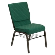 Flash Furniture HERCULES Series 18.5'' Wide Church Chair with 4.25'' Thick Seat Book Rack - Gold Vein Frame, Green Patterned