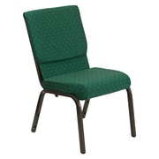 Flash Furniture HERCULES Series 18.5'' Wide Stacking Church Chair with 4.25'' Thick Seat - Gold Vein Frame, Green Patterned