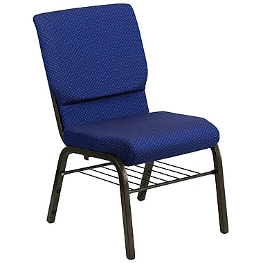 Flash Furniture HERCULES Series 18.5''W Church Chair with 4.25'' Thick Seat Rack - Gold Vein Frame, Navy Blue Dot Pattern