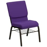 Flash Furniture HERCULES Series 18.5'' Wide Church Chair with 4.25'' Thick Seat Book Rack - Gold Vein Frame, Purple, 20/Pack