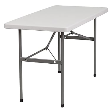Flash Furniture 24''W x 48''L Plastic Folding Table, Granite White