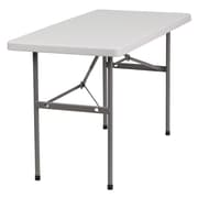 Flash Furniture 24''W x 48''L Plastic Folding Table, Granite White, 6/Pack