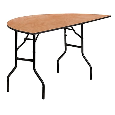 Flash Furniture 60'' Half-Round Wood Folding Banquet Table, Black/Natural