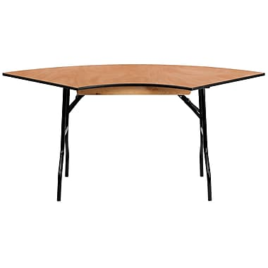 Flash Furniture 5.5' x 2.5' Serpentine Wood Folding Banquet Table, Black/Natural