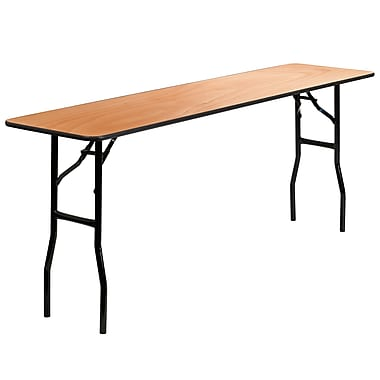 Flash Furniture 18'' x 72'' Rectangular Wood Folding Training / Seminar Table with Smooth Clear Coated Finished Top, Plywood