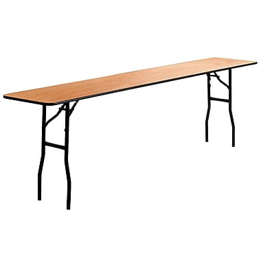 Flash Furniture 18'' x 96'' Rectangular Wood Folding Training / Seminar Table with Smooth Clear Coated Finished Top, Plywood