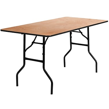 Flash Furniture 30'' x 60'' Rectangular Wood Folding Banquet Table, Black/Natural