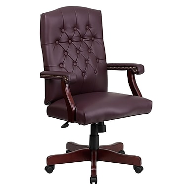 Flash Furniture Martha Washington High Back Leather Executive Swivel Chair, Burgundy