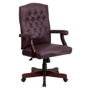 Flash Furniture 801LLF19BYLEA LeatherSoft High-Back Executive Chair with Fixed Arms, Burgundy