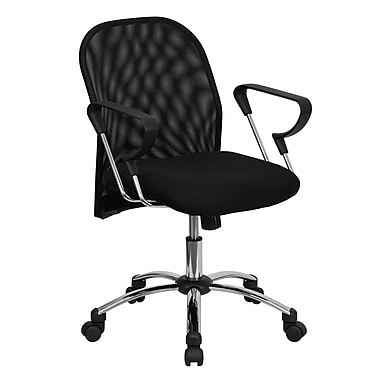 Flash Furniture BT-215-GG Fabric Mid-Back Task Chair with Fixed Arms, Black