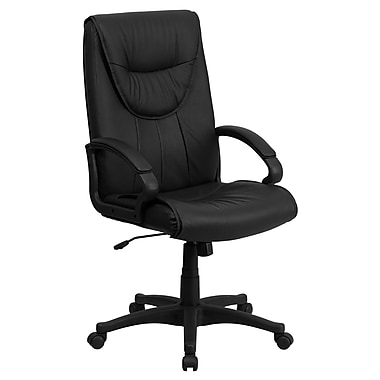 Flash Furniture BT238BK Leather High-Back Executive Chair with Fixed Arms, Black