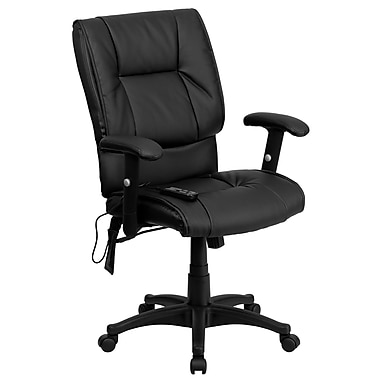 Flash Furniture Mid-Back Massaging Leather Executive Office Chair With T- Arms, Black
