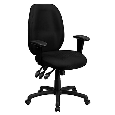 Flash Furniture Fabric Executive Office Chair, Adjustable Arms, Black (BT6191HBK)
