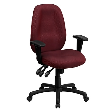 Flash Furniture BT6191HBY High-Back Fabric Task Chair with Adjustable Arms, Burgundy