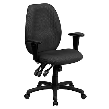 Flash Furniture Fabric Executive Office Chair, Adjustable Arms, Gray (BT6191HGY)