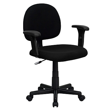 Flash Furniture Mid-Back Ergonomic Fabric Task Chair with Adjustable Arms, Black