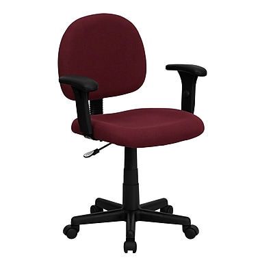 Flash Furniture BT-660-1-BY-GG Fabric Mid-Back Task Chair with Adjustable Arms, Burgundy
