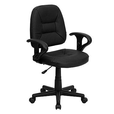 Flash Furniture BT-682-BK-GG Leather Mid-Back Task Chair with Adjustable Arms, Black