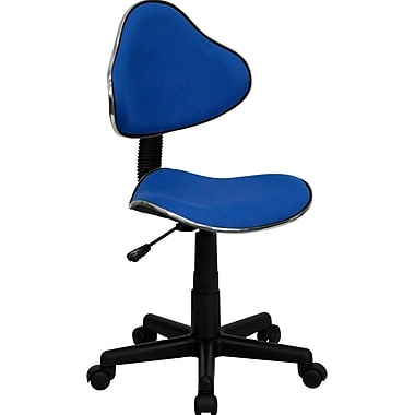 Flash Furniture Fabric Ergonomic Task Chair With Chrome Metal Band Accent, Blue