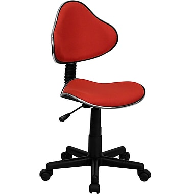 Flash Furniture Fabric Ergonomic Task Chair With Chrome Metal Band Accent, Red