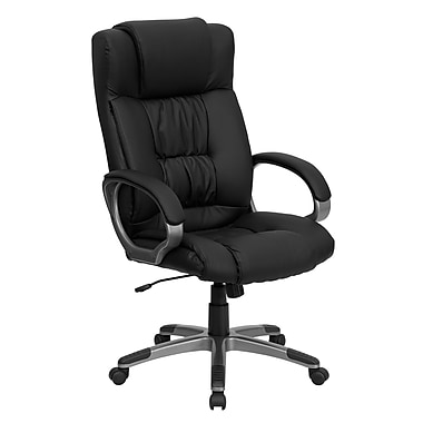 Flash Furniture High Back Leather Executive Office Chair with Loop Arms and Titanium Base, Black