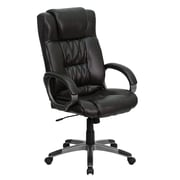 Flash Furniture High Back Leather Executive Office Chair with Loop Arms and Titanium Base, Espresso Brown