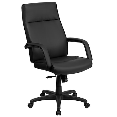 Flash Furniture High Back Leather Executive Office Chair With Memory Foam Padding, Black