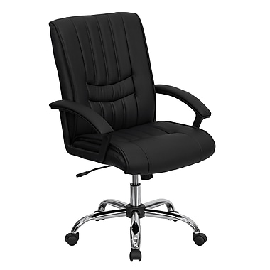 Flash Furniture BT-9076-BK-GG LeatherSoft Mid-Back Managers Chair with Fixed Arms, Black