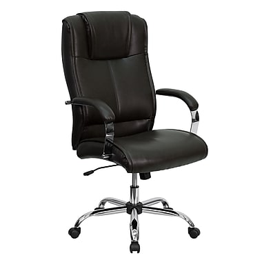 Flash Furniture High Back Leather Executive Office Chair With Chrome Finish Loop Arms, Brown