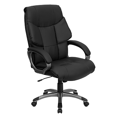 Flash Furniture High Back Leather Executive Office Chair with Wing Back Design, Black