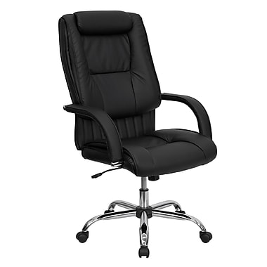 Flash Furniture High Back Leather Executive Office Chair With Integrated Rolled Headrest, Black