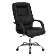 Flash Furniture High Back Leather Executive Office Chair with Rolled Headrest, Black