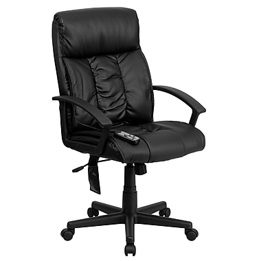 Flash Furniture High Back Massaging Leather Executive Office Chair with Gathered Upholstery, Black