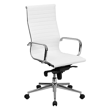 Flash Furniture High Back Ribbed Upholstered Leather Executive Office Chair, White