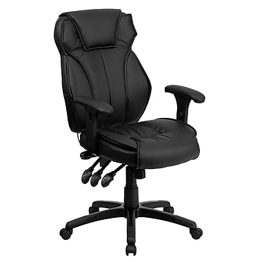 Flash Furniture High Back Leather Executive Office Chair With Triple Paddle Control, Black