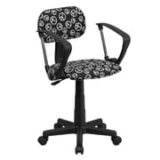 Flash Furniture Peace Sign Printed Computer Chair with Arms, Black and White