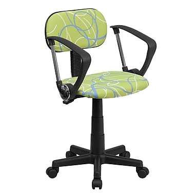 Flash Furniture Fabric Swirl Printed Green Computer Chair With Arms, Blue and White